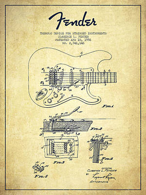 Fender Drawing - Fender Tremolo Device Patent Drawing From 1956 by Aged Pixel