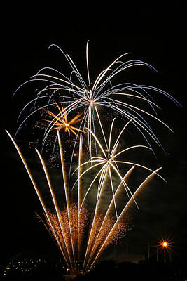 Photograph - Fireworks Over Kauffman Stadium by CE Haynes
