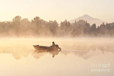 Pilchuck Photograph - Fisherman In Boat, Lake Cassidy by Jim Corwin