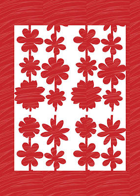 Painting - Flower Pattern Using Artist Created Color Tone N Textures Diy Template Download License Print Rights by Navin Joshi