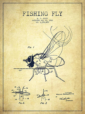 Fishing Fly Patent Drawing From 1968 - Vintage Art Print by Aged Pixel