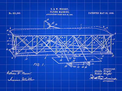 Flying Machine Patent 1903 - Blue Art Print