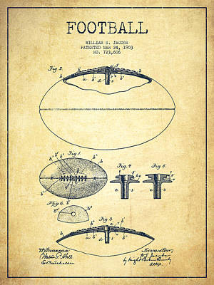 American Football Digital Art - Football Patent Drawing From 1903 by Aged Pixel