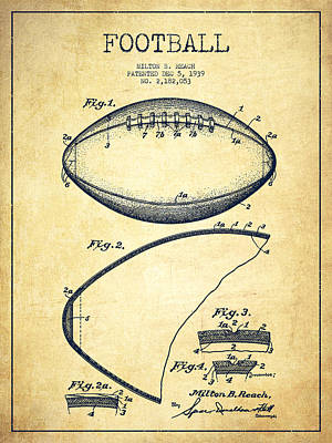 American Football Drawings Drawing - Football Patent Drawing From 1939 by Aged Pixel