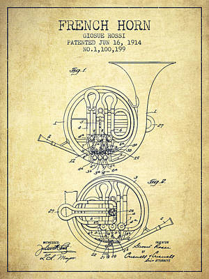 French Horn Drawing - French Horn Patent From 1914 - Vintage by Aged Pixel