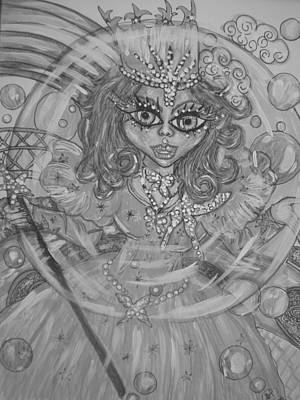 Mixed Media Royalty Free Images - #5 Glinda The good Witch in black and white Royalty-Free Image by Terri Allbright