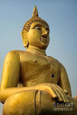 Landmarks Digital Art - Golden Buddha by Adrian Evans