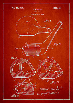 Golfer Digital Art - Golf Club Patent Drawing From 1926 by Aged Pixel