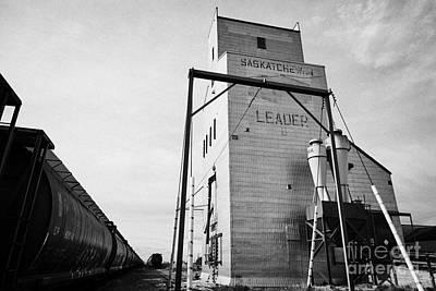 grain elevator and old train track landmark leader Saskatchewan Canada Art Print by Joe Fox