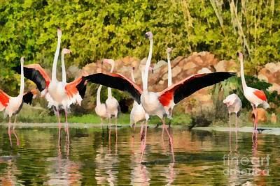Greater Flamingos Painting - Greater Flamingos by George Atsametakis