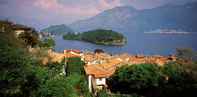 Lake Como Photograph - High Angle View Of A Village by Panoramic Images