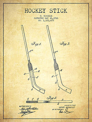 Hockey Stick Patent Drawing From 1916 Art Print