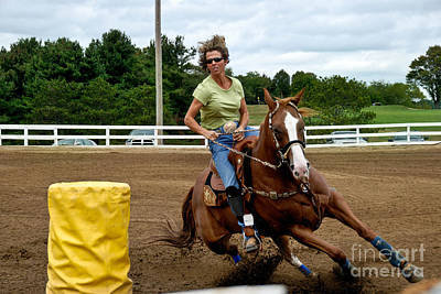 Horse And Rider In Barrel Race Art Print by Amy Cicconi