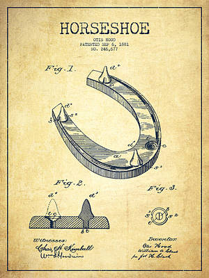 Shoes Digital Art - Horseshoe Patent Drawing From 1881 by Aged Pixel