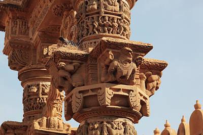 Carved Bird Photograph - India, Rajasthan, Jaisalmer by Alida Latham