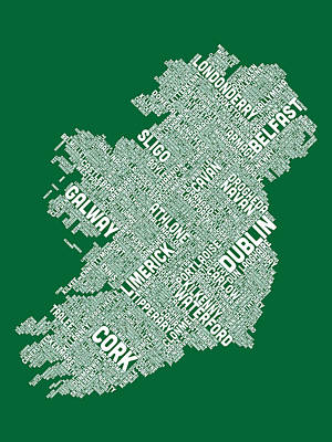 Travel Digital Art - Ireland Eire City Text Map by Michael Tompsett