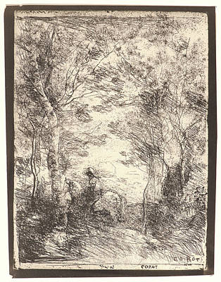 Cavaliers Drawing - Jean-baptiste-camille Corot French by Litz Collection