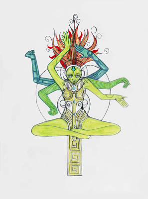 Hindu Goddess Drawing - 5 by Jessica McLellan