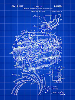 Jet Engine Patent 1941 - Blue Art Print by Stephen Younts