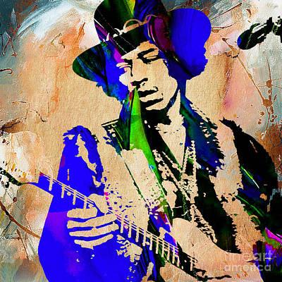 Singer Mixed Media - Jimi Hendrix Painting by Marvin Blaine