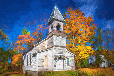 Lafayette Baptist Church Lafayette Sussex County Nj Painted  Art Print by Rich Franco
