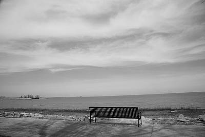 Photograph - Lake And Park Bench by Frank Romeo