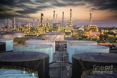 Landscape Of Oil Refinery Industry  Art Print by Anek Suwannaphoom