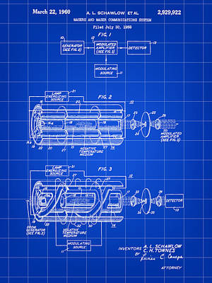 Lithography Digital Art - Laser Patent 1958 - Blue by Stephen Younts