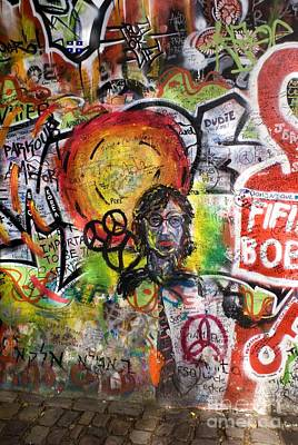Ban The Bomb Photograph - Lennon Wall, Prague by Mark Williamson