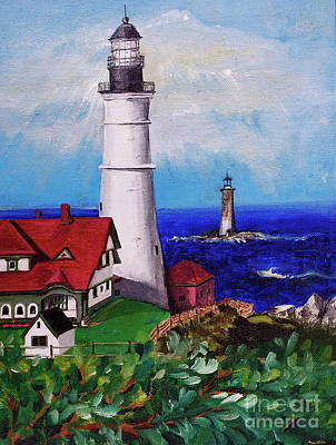 Portland Head Lighthouse Painting - Lighthouse Hill by Linda Simon