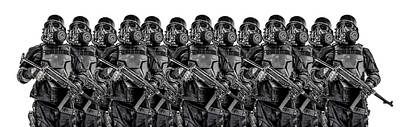 Photograph - Line Of Futuristic Nazi Soldiers by Oleg Zabielin