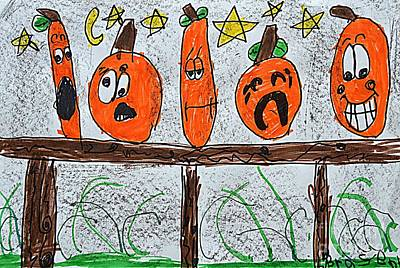 Painting - 5 Little Pumpkins by Greg Moores