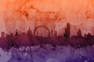 London Skyline Digital Art - London England Skyline by Michael Tompsett