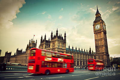 Government Photograph - London Uk Red Bus In Motion And Big Ben by Michal Bednarek