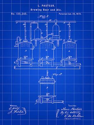 Louis Pasteur Beer Brewing Patent 1873 - Blue Art Print