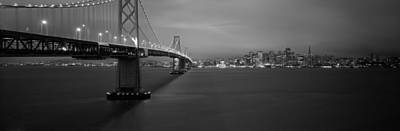 Bay Bridge Photograph - Low Angle View Of A Suspension Bridge by Panoramic Images