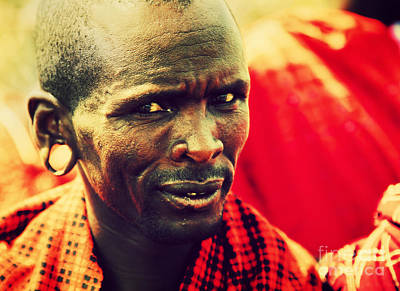 Clothes Photograph - Maasai Man Portrait In Tanzania by Michal Bednarek
