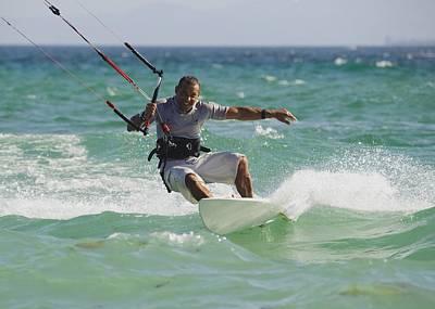Bravado Photograph - Man Kitesurfing by Ben Welsh