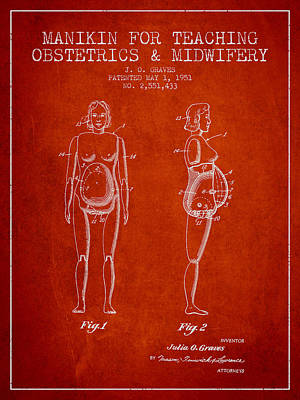 Manikin For Teaching Obstetrics And Midwifery Patent From 1951 - Art Print by Aged Pixel