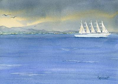 5 Masted Schooner Original by Marsha Elliott