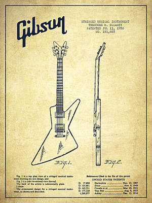 Smallmouth Bass Digital Art - Mccarty Gibson Electrical Guitar Patent Drawing From 1958 - Vintage by Aged Pixel