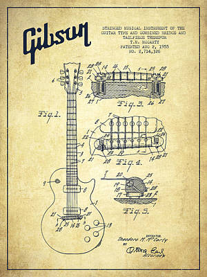 Technical Digital Art - Mccarty Gibson Les Paul Guitar Patent Drawing From 1955 - Vintage by Aged Pixel