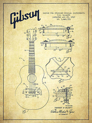Acoustic Guitar Digital Art - Mccarty Gibson Stringed Instrument Patent Drawing From 1969 - Vintage by Aged Pixel