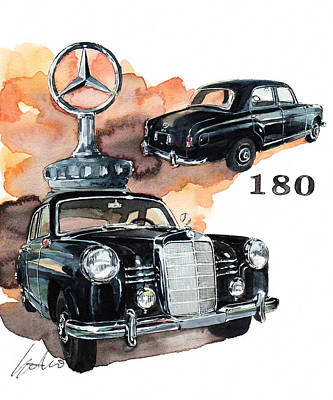 180 Wall Art - Painting - Mercedes 180 by Yoshiharu Miyakawa