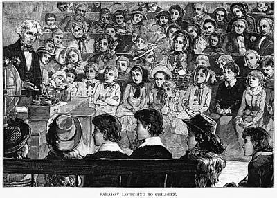 Podium Painting - Michael Faraday (1791-1867) by Granger