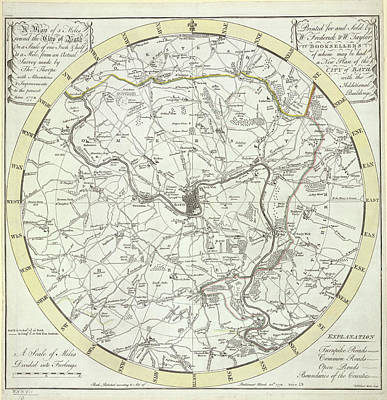 Cartography Photograph - 5 Miles Round The City Of Bath by British Library