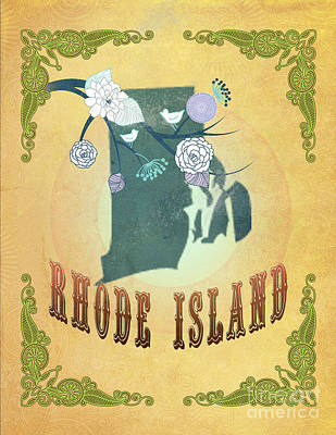 Rhode Island Map Digital Art - Modern Vintage Rhode Island State Map  by Joy House Studio