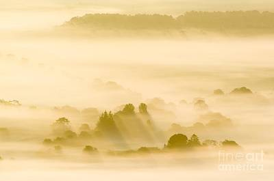 Silhoette Photograph - Morning Mist Over Farmland by Duncan Shaw