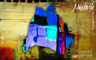 Nashville Skyline Mixed Media - Nashville Map Watercolor by Marvin Blaine