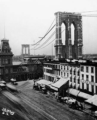 Brooklyn Storefronts Photograph - New York Brooklyn Bridge by Granger